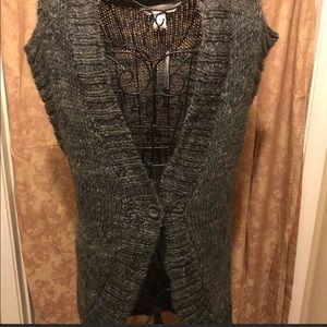 Jillian Nicole Dark Gray Crotchet Sweater Vest